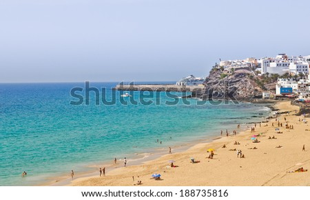 Morro Jable - popular holidays resort on Fuerteventura. - stock photo