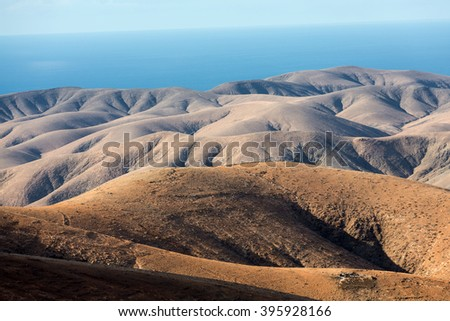 Morro Velosa Pointview -  unique views over the wonderful landscape of the north-central region of the island.  Fuerteventura , Canary Island, Spain - stock photo