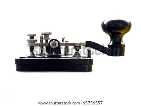 Morse key isolated on white - stock photo