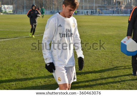 MORSHUN, UKRAINE - OCT 25: Aleix Febas in action during the UEFA Youth Champions League match between Shakhtar vs Real Madrid (U19), 25 October 2015, Ukraine