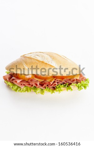Mortadela sandwich, on a white background