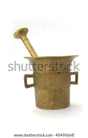 mortal and pestle on white background