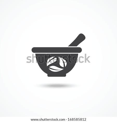 Mortar and pestle icon - stock photo