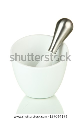 Mortar and pestle, isolated on white