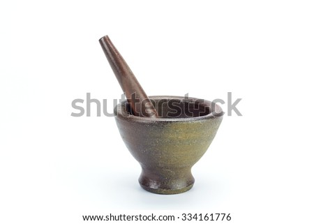 Mortar and pestle isolated on white background - stock photo