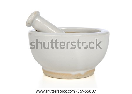 Mortar and pestle isolated over white background - With clipping path