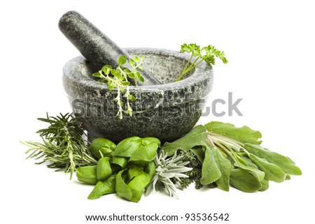 mortar and pestle, surrounded by a variety of fresh herbs, isolated on white background - stock photo