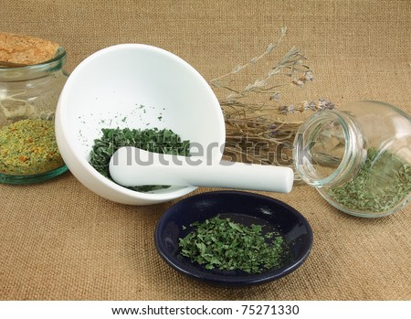 Mortar and pestle with spices - stock photo