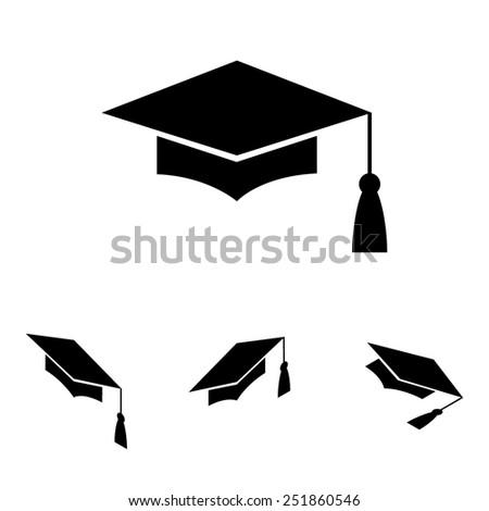 Mortar Board or Graduation Cap, Education symbol  set. Isometric effect - stock photo