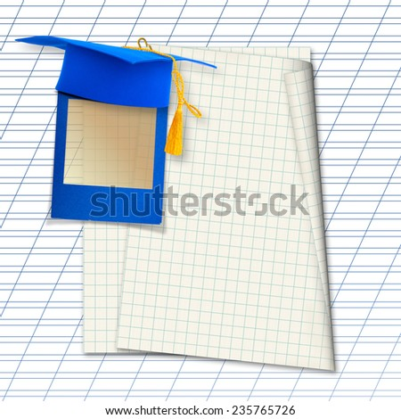 Mortar board or graduation cap with blue slide on the background notebook sheet  - stock photo