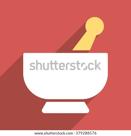 Mortar long shadow glyph icon. Style is a flat light symbol with rounded angles on a red square background. - stock photo