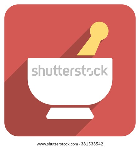 Mortar long shadow glyph icon. Style is a flat symbol on a red rounded square button. - stock photo
