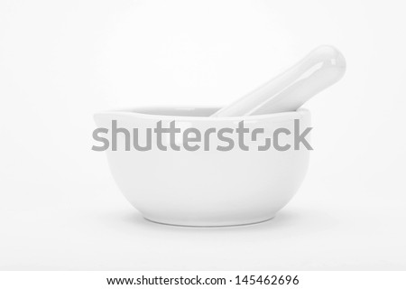 Mortar on white background - stock photo