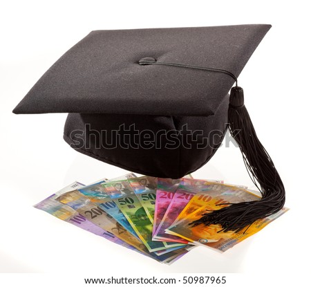 Mortarboard and Swiss francs. Symbol for education costs. - stock photo