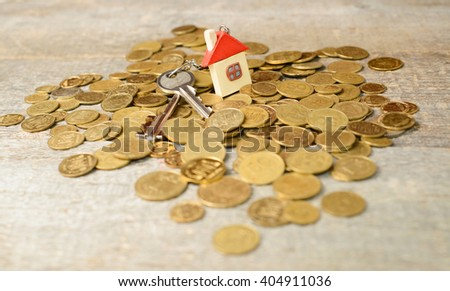 Mortgage concept by house on Ukrainian money, hill  from the coins on wooden table