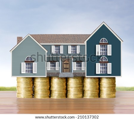 mortgage concept by money house from coins - stock photo