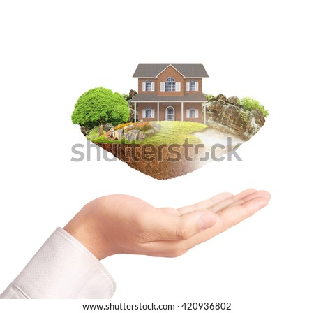 Mortgage concept by money house in hand - stock photo