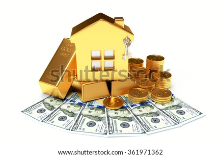 Mortgage concept. Golden house among the coins, dollar bills and bars isolated on white