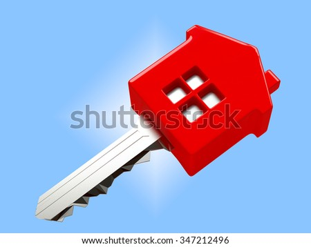 Mortgage concept. Red house shape key on blue background - stock photo