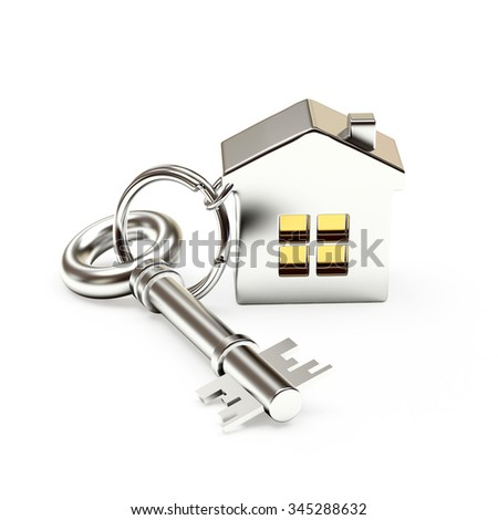 Mortgage concept. Silver key with house isolated on white background - stock photo