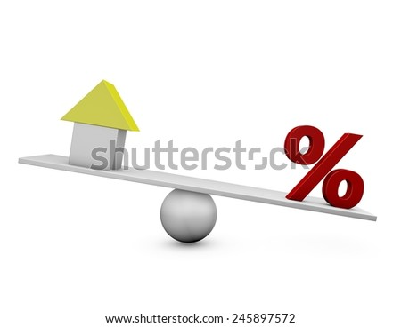 Mortgage concept with house and percent symbol. 3d render illustration. - stock photo