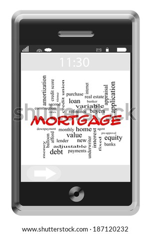 Mortgage Word Cloud Concept of Touchscreen Phone with great terms such as lender, bank, home and more. - stock photo