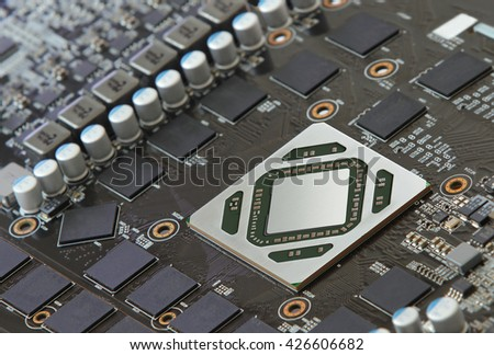 Mortherboard with microprocessor and diode - stock photo