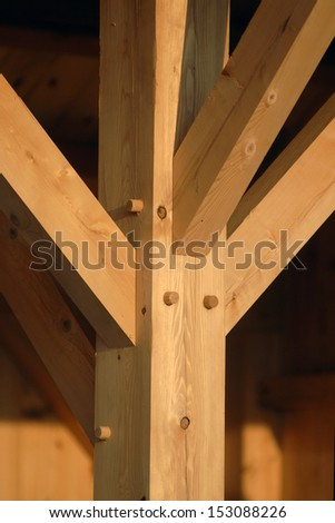 Mortise and tenon joint - stock photo