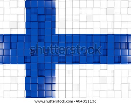 Mosaic background with square parts. Flag of finland. 3D illustration