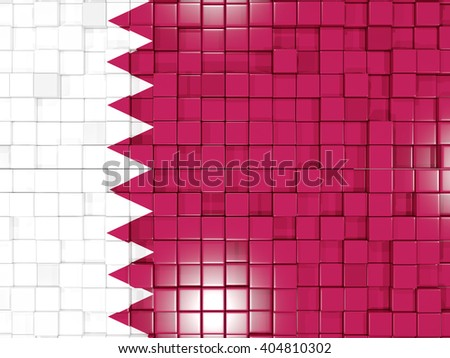 Mosaic background with square parts. Flag of qatar. 3D illustration - stock photo
