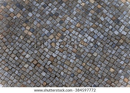 Mosaic colored pavers of small stones - stock photo