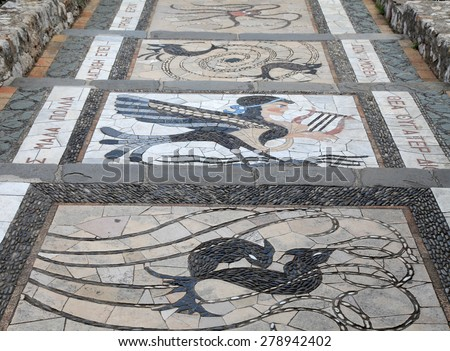 mosaic decoration with greek pattern on the garden steps walkway, Nice, France  - stock photo