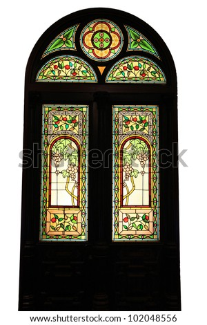mosaic door of church on isolated white