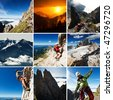 mosaic from climbing mountains - stock photo