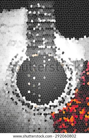 Mosaic guitar illustration - stock photo