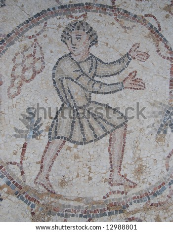 Mosaic in ancient Caesaria, city - a residence of Pontius Pilate, the procurator of Judea - stock photo