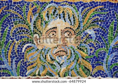 mosaic mural - stock photo