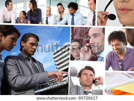 Mosaic of business people working - stock photo