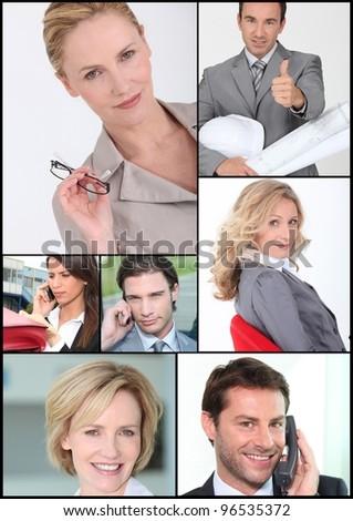 Mosaic of corporate employees - stock photo