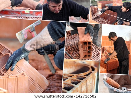 Mosaic of mason working on site - stock photo