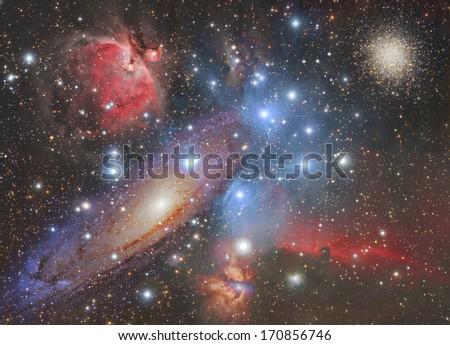 Mosaic of space wonders. - stock photo