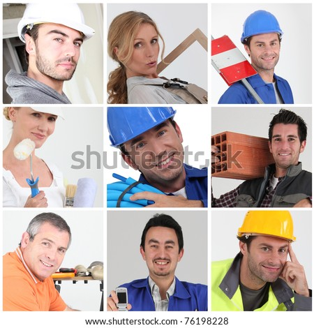 Mosaic of workers from different trades - stock photo