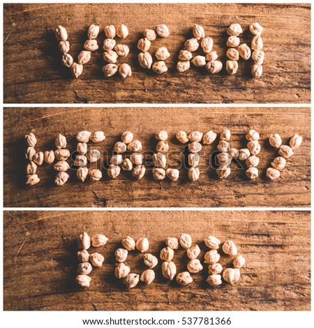 mosaic of written on wooden background - vegan healthy food