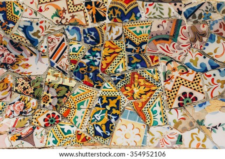 Mosaic on a bench in Park Guell. Gaudi. Barcelona. Spain - stock photo