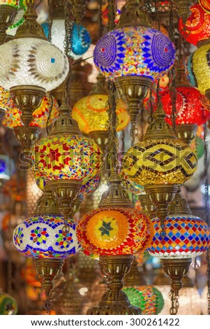 Mosaic Ottoman lamps from Grand Bazaar, Istanbul, Turkey - stock photo