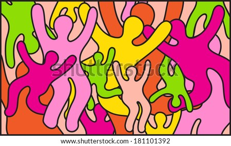 Mosaic pattern for stained glass window: people, crowd, party, fun, dancing, hands up. Untraditional orientation. - stock photo