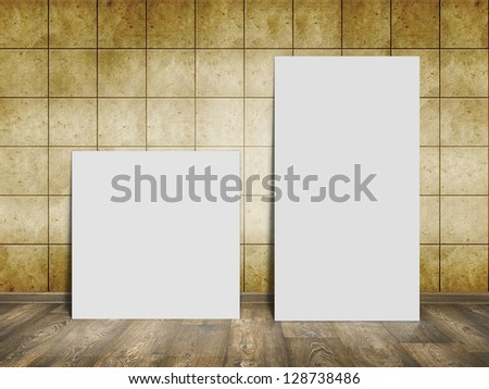 mosaic room, gold background with wood floor and white blank placard