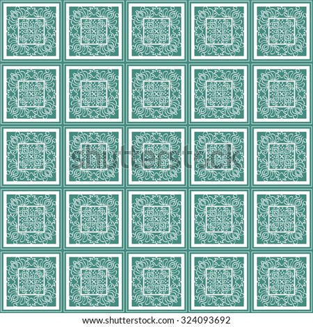 Mosaic seamless pattern of geometric shapes for printing on fabrics and wallpaper - stock photo
