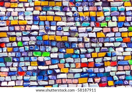 Mosaic texture on wall - stock photo