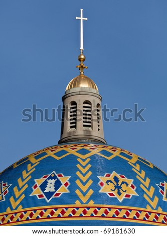 Mosaic tiled Dome of Basilica of the National Shrine of the Immaculate Conception in Washington DC on a clear winter day - stock photo